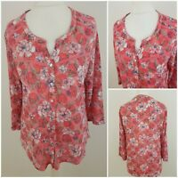 Bonmarche Womens Pink White Floral Print Shirt Top Blouse Thin 3/4 Sleeved 16