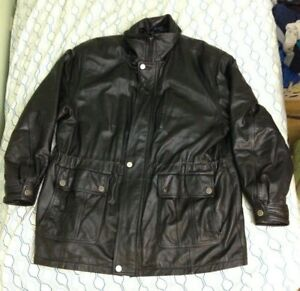 Vintage 90s Misty Harbor Original Leather Bomb Jacket Heavy Biker Black Lined XL