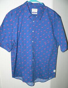 Men's FLAMINGO PARTY SHIRT Public Art SZ XXL S/S Cotton/Spandex Button Up Shirt