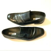 Steve Madden Mens size 11 Black Leather Loafers Sutter Slip On Shoes