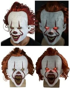 The Adult Clown Halloween Latex Glowing Cosplay Mask Scary LED Light with Wig