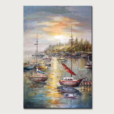 Hand Painted Boats Sun and Sea Oil painting on Canva Morden Wall Art  Home Decor