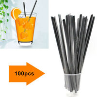 100PCS 3mm Plastic Black  Cocktail Straws Birthday Wedding Party Favors