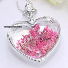 Hot Xmas Gifts For Her - Pink Flowers Necklace Silver Girlfriend Wife Love Women