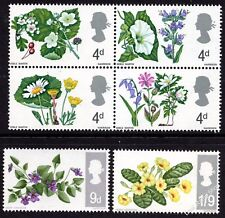 GB 1967 British Wild Flowers Complete Set Phosphor SG 717p-722p Unmounted Mint