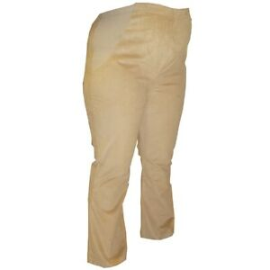 Cotton Stretch Cord Bootleg Beige Camel Over Bump Maternity Trousers 8 UK
