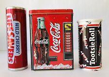Coca Cola Bank Tin Box + Life Saver Tin Tube + Tootsie Roll Cardboard Bank