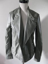 NWT MUUBAA DELANEY SAGE GREY LEATHER BIKER SKINNY JACKET US 8 M UK 12