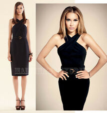 $1,700 GUCCI DRESS BLACK STRETCH CADY CROSS TOP WITH BAMBOO BELT sz IT 42 US 6