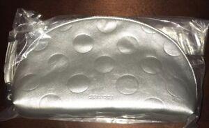 Sephora Metallic Silver Dome Zip Cosmetic Makeup Bag NWT