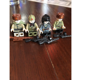 WW2 4 Pcs Lego Minifigures MOC Soviet Army Soldiers & Weapons Russia