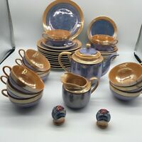Japanese Vintage Blue & Peach Lusterware Tea Set Service for 11 w/ Salt & Pepper