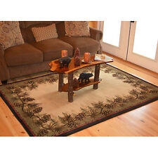 Lodge Cabin Pinecone Rustic Forest Area Rug **FREE SHIPPING**