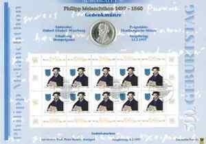 1 Numisblatt BRD Nr. 1/97 Philipp Melanchthon Zehnerbogen # 1292