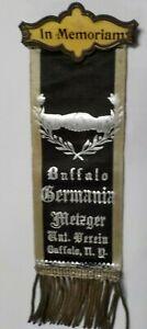 "Antique Buffalo, NY. Germania Masonic ""In Memoriam Metzger"" Enamel Pin Ribbon"
