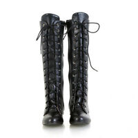 Punk Style Ladies Strappy Lace Up Round Toe Blocks Heels Knee High Boots Shoes