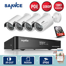 SANNCE 4CH 1080P PoE Network NVR In/Outdoor Home Security IP Camera System 1TB