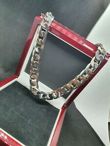 Men's Brand New Real Cuban Heavy Sterling Silver Filled Curb Chain Necklace's