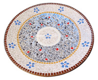 "24"" Marble Coffee Table Top Rare Semi Mosaic Floral Inlaid Gemstone Decor H2465"
