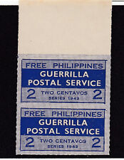 US Philippine WWII Guerrilla Postal Service in FREE Philippines 2 cents pair NH