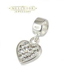 Sterling Silver Clear HEART Dangle Bead For European Charm Bracelet Gift Boxed