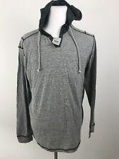 BKE BUCKLE Men's XL Gray Long Sleeve Green Abstract Hoodie Standard Shirt Top