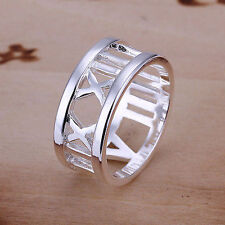 UK Silver Plated Ring Roman Numeral Vintage Style Size 8 Unisex   (009)