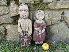 Folk Art Wood Cutout Sculpture Pair - Signed Canadian Artist Agnes Dube