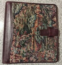 Leather Tapestry 7 Ring Planner Binder 12 X 11 Franklin Covey Inserts Extras