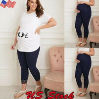 US Women Pregnant Maternity Leggings Pants Stretch Belly Support Casual Trousers