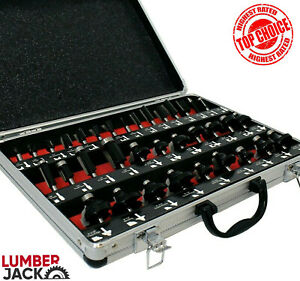 """Lumberjack 1/4"""" Shank 35 Piece TCT Router Cutter Bit Set with Case Trade Quality"""
