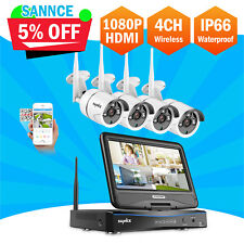 "SANNCE 10.1""4CH Monitor DVR Wireless IP66 Camera Security System Night Vision IR"