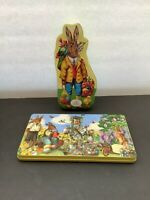 2 Confiserie Heidel Easter Spring Bunny Embossed Empty German Candy Tins