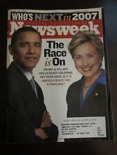 Newsweek Magazine January 2007 The Race is On Obama & Hillary