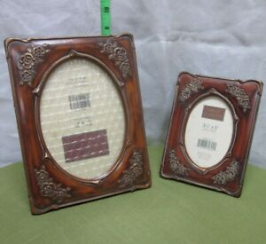 CAMELOT COLLECTION rustic wooden frames lot 2 two NWT ornate rose highlights 5x7