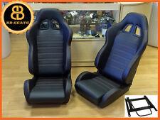Pair BB4 Reclining Bucket Seats Black / Red + Adaptor Plates LANDROVER DEFENDER