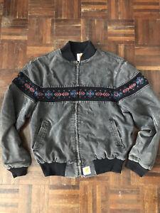 Vintage Carhartt Aztec Southwest Navajo Work Jacket Coat 90's XL FADE