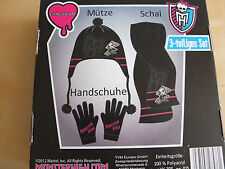 Monster High Mütze Handschuhe Schal Set Winterset NEU Mattel Black