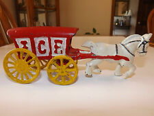 Vintage Cast Iron Ice Wagon Red W/ Yellow Wheels That Move White Horse Pulling