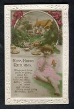 c1920s Birthday Card: Young Girl in Pink Dress & Table Set for Tea