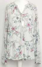 PER UNA BNWT Grey Blue Pink Floral Long Sleeve Button Shirt Blouse Top Size 10
