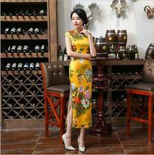 new yellow chinese women's silk Evening Dress Ball long Cheongsam Qipao 6-14