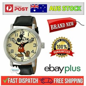 """BRAND NEW Disney Men's 56109""""Vintage Mickey Mouse"""" Watch with Black Leather Band"""