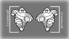"2x 3.5"" Michelin Tires Man Bib Decal Stickers Belly Pan Track Bike Fender MotoGP"