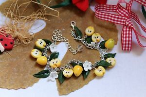Jewelry bracelet / Yellow apples / Handmade / Polymer clay