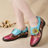SOCOFY Women Retro Leather Handmade Zipper Splicing Casual Shoes Floral Pumps