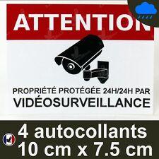 4 Autocollants video surveillance dissuasif alarme