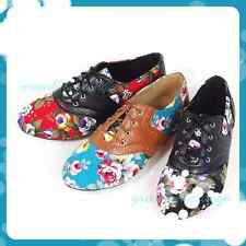 New Women's Floral printed fabric and leather lace-up Oxford Flat shoes.
