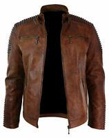 Mens Biker Motorcycle Vintage Brown Leather Jacket