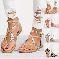 Women Gladiator Roman Flat Flip Flops Sandals Beach Ankle Strappy Open Toe Shoes